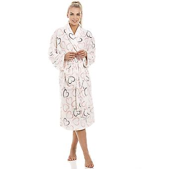 Camille White Supersoft Pink And Grey Heart Bathrobe