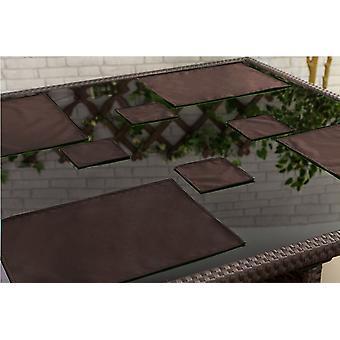 Gardenista al aire libre comedor resistente al agua Placemats vajilla, paquete de 6 marrón