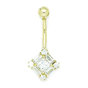 14k Giallo Oro C'è Cubic a romsmi di diamante 14 Gauge Dangling Kite Body Jewelry Belly Ring Measures 27x12mm Jewe