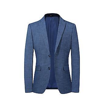 Allthemen Men's 2 Button Sport Coat Solid Color Slim Fit Suit Jacket Blauw