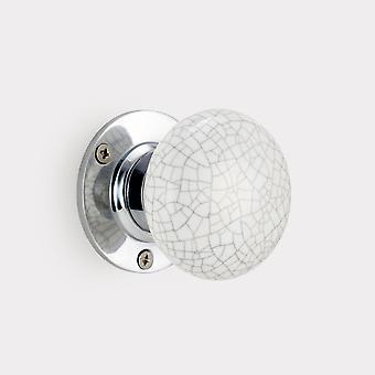 Perilla de puerta interior de cerámica - blanco / gris - agrietado