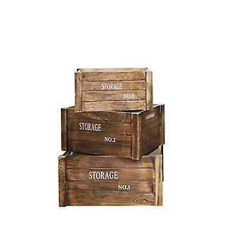 Rebecca Furniture Set 3 boxes container Baskets light wood white lettering Vintage Retro