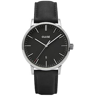 Cluse Watches Cw0101501001 Aravis Silver And Black Leather Men's Watch