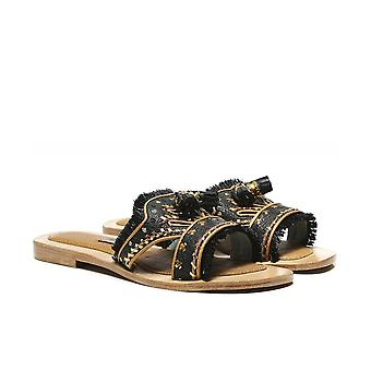 Meher Kakalia Gobi Leather Tassel Sliders