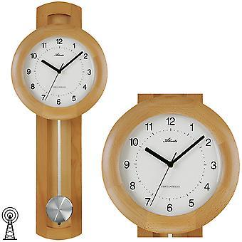 Atlanta 562/30 wall clock radio radio clock with pendulum wood in beech optics pendulum clock