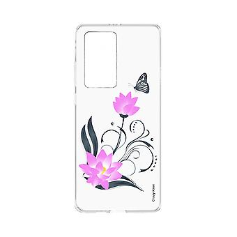 Hull For Huawei P40 Pro Soft Lotus Flower And Butterfly