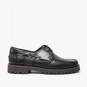 Barbour Stern Mens Leather Deck Shoes Black