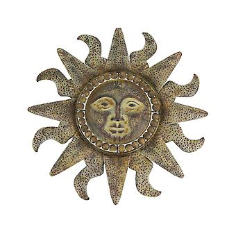 Distressed Tuscan Sun Enamel Finish Metal Wall Hanging Celestial Sunburst Decor
