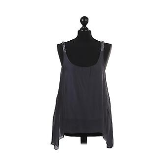 Womens Two Layered Sleeveless Tunic Vest | Charcoal | One Size