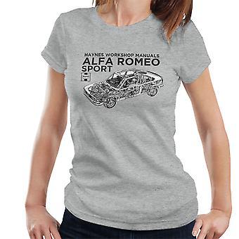 Haynes propietarios taller Manual 0292 Alfa Romeo Sport camiseta de las mujeres negras