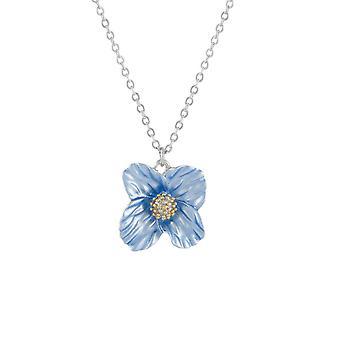 Ikuinen kokoelma sininen unikko emali kukka riipus kaulakoru