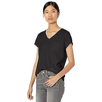 Märke - Goodthreads Kvinnors Tvättade Jersey Bomullsficka V-Ringad T-Shirt, Svart, Medium