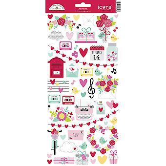 Doodlebug Design Kjærlighet Notater Ikoner Klistremerke