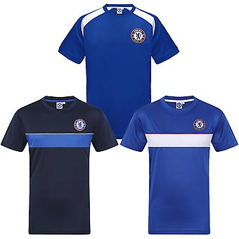 Chelsea FC Officiel Football Gift Boys Poly Training Kit T-Shirt Blue White