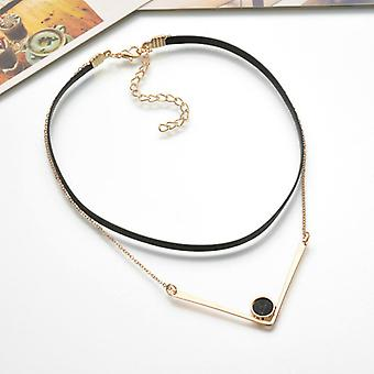 Black Leather Double Layered Necklace with Stone Pendant
