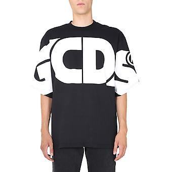 Gcds Cc94m02100602 Heren's Zwart Katoen T-shirt