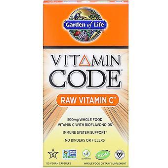 Jardín de la Vida, Código de Vitaminas, VITAMINA C RAW, 500 mg, 120 Cápsulas Veganas