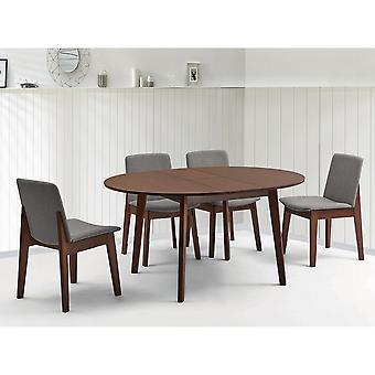 Adelaide/Maxwell Round 5Pc Dining Set - Walnut Table/Grey Chair
