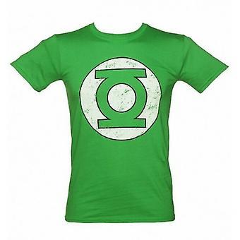 Groene lantaarn Unisex volwassenen verontruste logo T-shirt