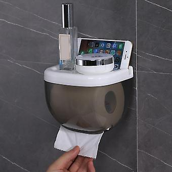 Durable Wall Mounted Portable Waterproof Toilet Paper Holder With Mobile Phone Storage Shelf
