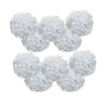 10PCS Pom-poms flor bola boda fiesta decoración 30cm blanco