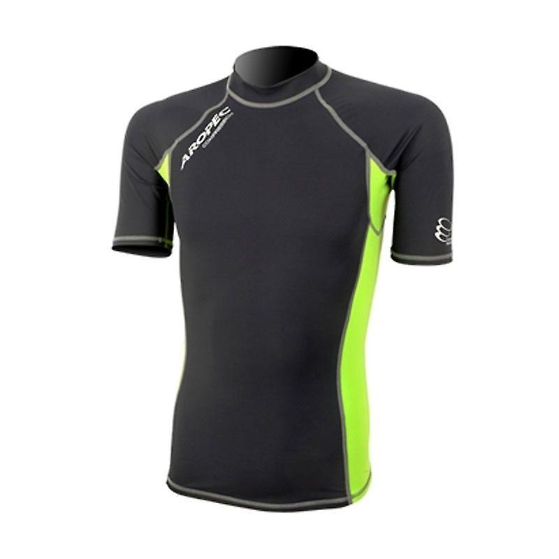 Short Sleeve Compression Top - Black/Lime