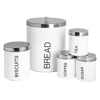 5 Piece Contemporary Kitchen Storage Canister Set - Steel Tea Coffee Sugar Caddy with Rubber Seal - White