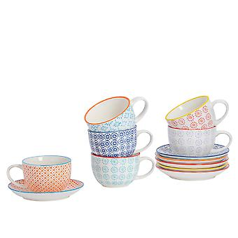 Nicola Spring 12 Piece Hand-Printed Cappuccino Cup and Saucer Set - Porcelain Coffee Teacups - 6 Colours - 250ml