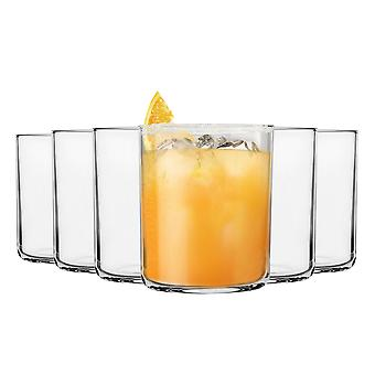 Bormioli Rocco 6 Piece Aere Drinking Tumbler Glasses Set - Contemporary Style Glass Tumblers for Water, Juice, Whisky - 280ml