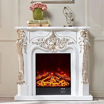 Decorative Fireplace Set Wooden Mantel W100cm Electric Firebox Insert Burner Room Warmer Led Optical Flame Deocration