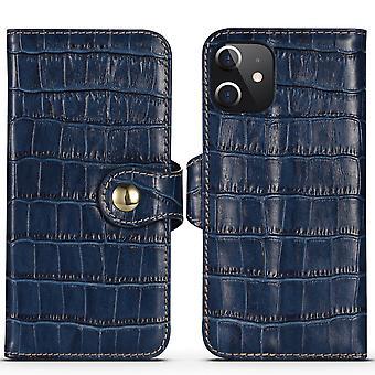 Voor iPhone 12 mini case genuine lederen krokodil textuur portemonnee Flip Cover Blauw