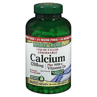 Nature's Bounty Calcium 1200 mg Plus Vitamin D3 Mineral Supplement Softgels, 220 Softgels