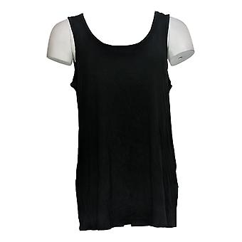 Women with Control Women's Top Ruffle Lace Tunic With Tank Black A350623