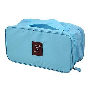 Mulher portátil Bra Underwear Organizador Bag para travel luggage blue