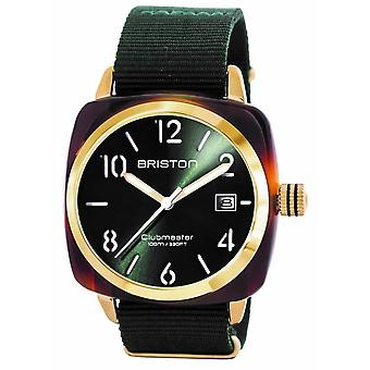 Briston Clubmaster Classic Acetate 3 Hand Watch - Green/Yellow Gold