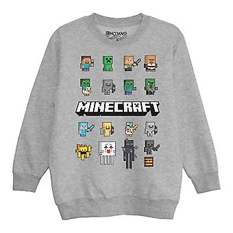 Minecraft Mini Characters Boys Crewneck Sweatshirt | Official Merchandise