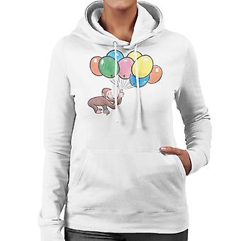 Neugierige George Holding Ballons Frauen's Kapuzen Sweatshirt