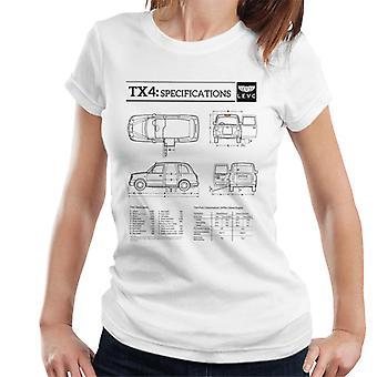 London Taxi Company TX4 Specifikationer Blueprint Kvinnor & apos; s T-Shirt