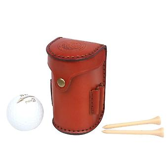 Mini portable Golf Ball Bag Tee Holder, Détient 2 balles, Divot, Taille en cuir