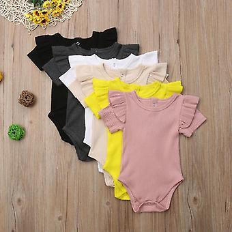 Newborn Baby Cotton Tops, Short Sleeve Solid Jumpsuit Sunsuit Comfy Outfits