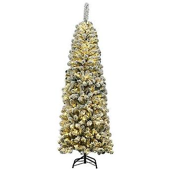 Led Lights Snow Flocked Hinged Pencil Christmas Tree