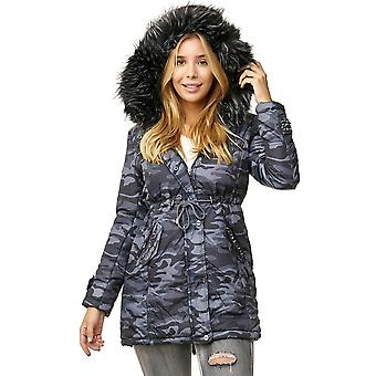 Ladies Winter Jacket Camouflage Print Hooded Fake Fur Coat Parka Jacket Rivets