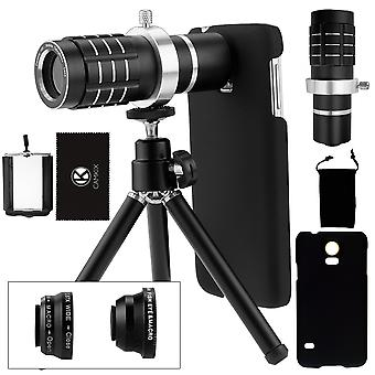 Camkix camera lens kit compatible samsung galaxy s5 including a 12x telephoto lens / fisheye lens /