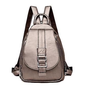 Leather Backpacks Vintage Female Shoulder / School Bags