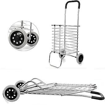 2 Wheel Aluminum Folding Portable Shopping Basket Cart Trolley