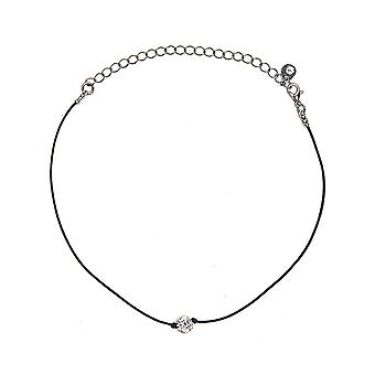 Leather Crystal Choker