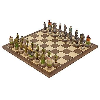 The Hitler Vs Roosevelt, second world war hand painted themed Chess set by Italfama