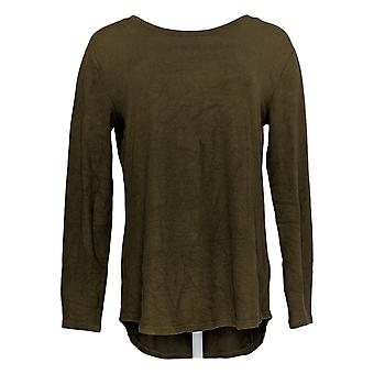 Lisa Rinna Collection Women's Sweater Hacci Knit Curved Hem Green A341720