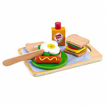 Houten sandwichset met ECOTOYS-accessoires