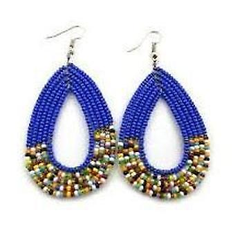 Traditional Maasai Beaded Blue African Handcrafted Earrings